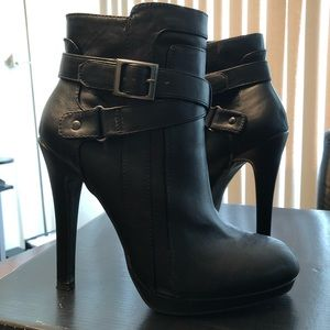 Faux Leather Black Heeled Booties